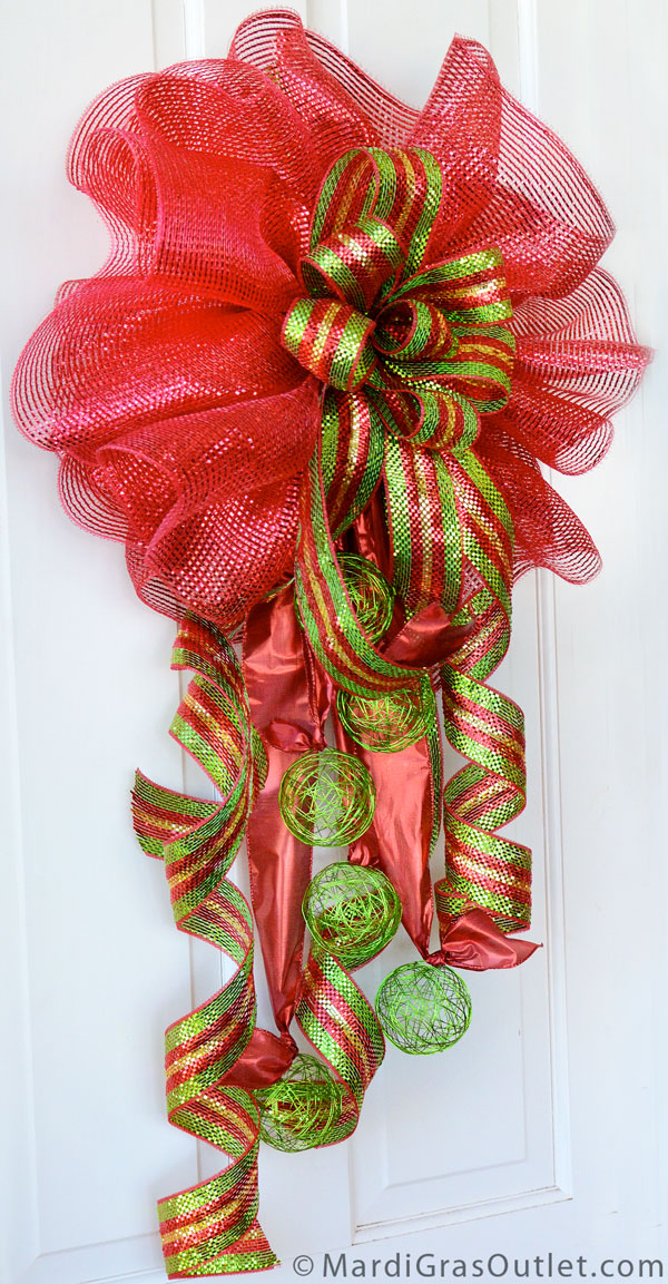 Deco mesh Christmas bow with wire ball accents