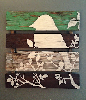 Palette, Silhouette, bird, wood, distressed, DIY