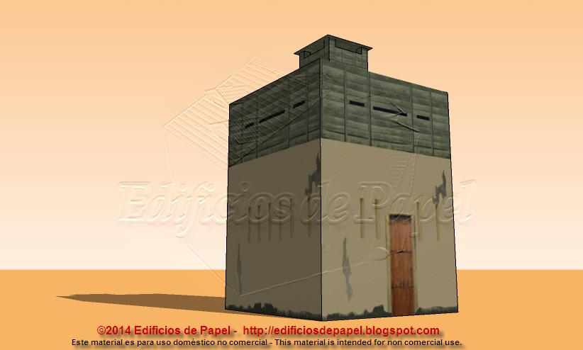 Maqueta de papel de un fortín en las trochas de Cuba