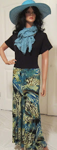 Ladies Animal Print Jersey Knit Maxi in blues and golds