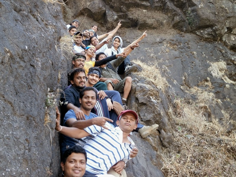 Waiting for our turn to climb the 40 feet rock patch on Madan