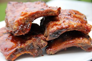 barbecue ribs on a white plate
