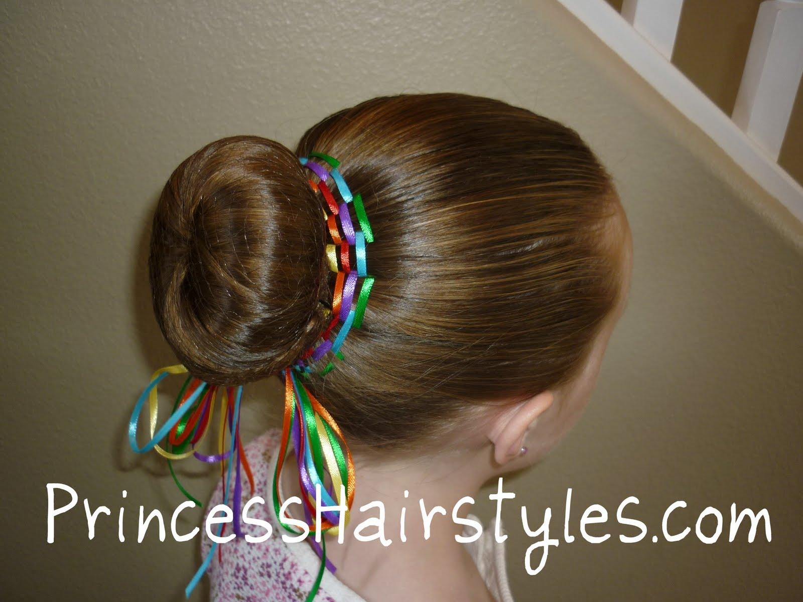 Pleasant Rainbow Bun Dance Bun With Ribbon Hairstyles For Girls Hairstyle Inspiration Daily Dogsangcom