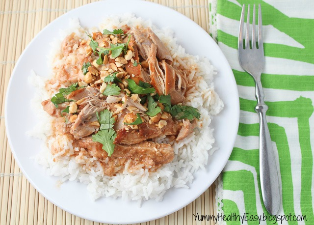 Easy Slow Cooker Thai Chicken - Yummy Healthy Easy