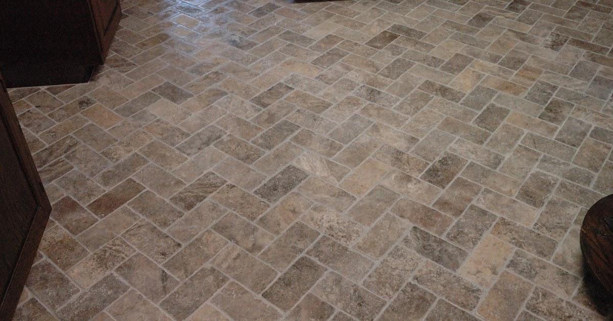 Custom Bathroom Remodeling Natural Stone Herringbone Tile Floor
