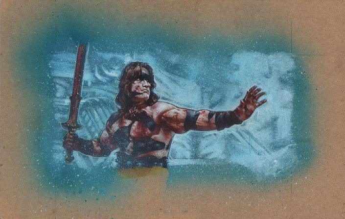 Arnold Schwarzenegger as Conan, Original Artwork Copyright © 2013 Jeff Lafferty