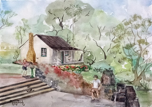 Wonderful Watercolor Outdoor Painting of  Cornwall Park, Auckland Historic Acacia Cottage, 29.5x42cm