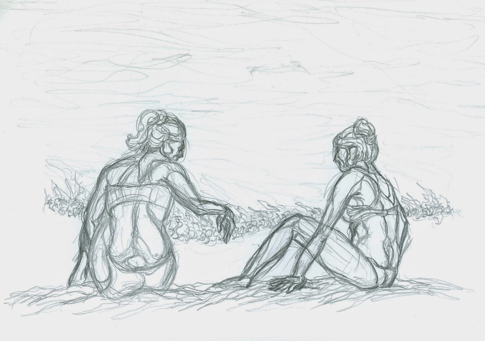 This Is A Simple Cross Contour Drawing Done In Pencil Of Two Girls Talking On The Beach Santa Cruz Quick Sketch As People Who Dont Know