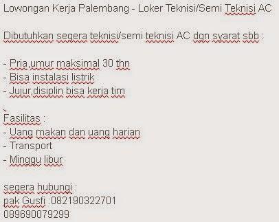 Lowongan Kerja Palembang - Loker Teknisi/Semi Teknisi AC
