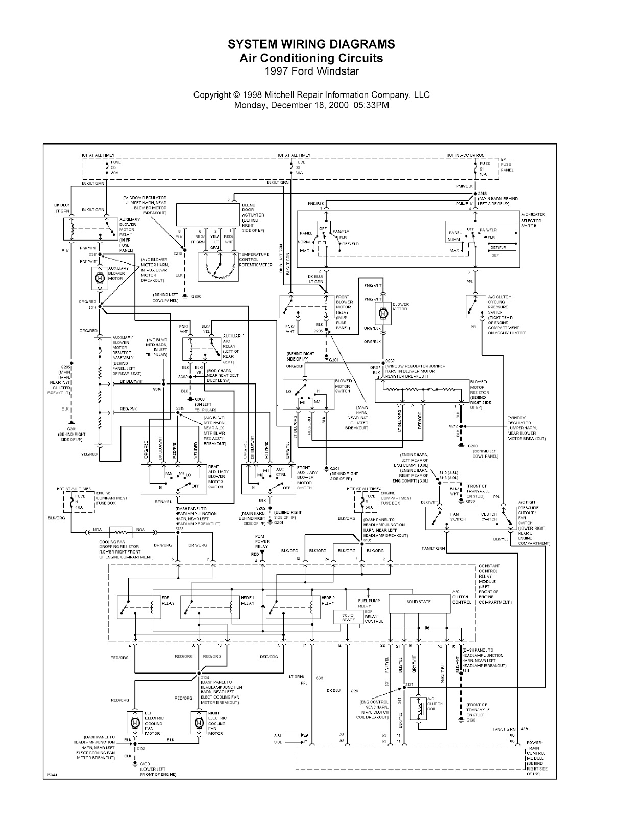 1997 Ford Windstar Complete System Wiring Diagrams | Wiring Diagrams