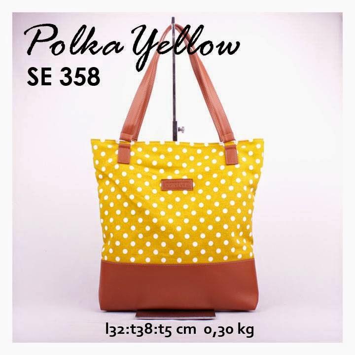 jual online handbag kanvas murah combi sintetis motif polkadot