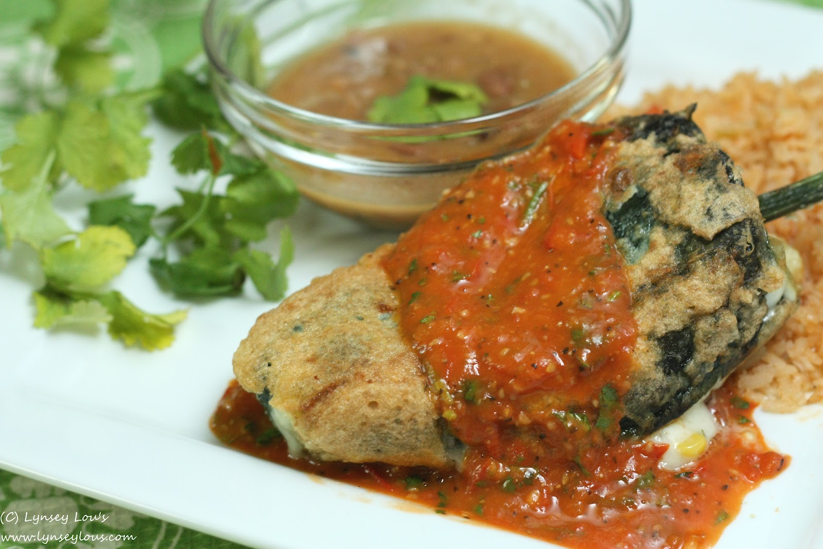 Chiles Rellenos with Tomato Sauce