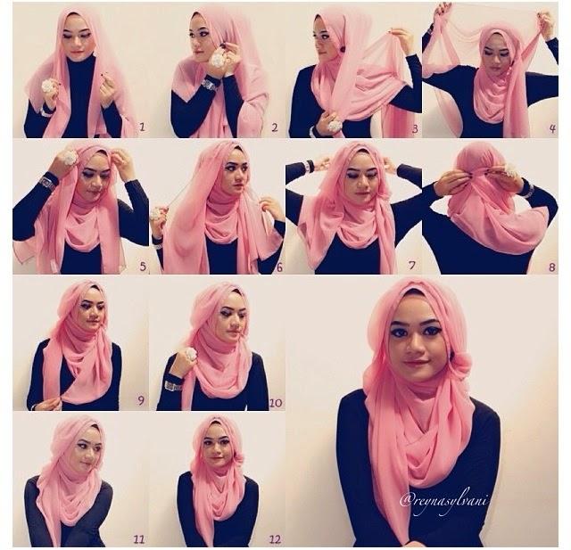 Cara Memakai Jilbab Modern Simple | Tutorial Hijab Cara Memakai Jilbab ...