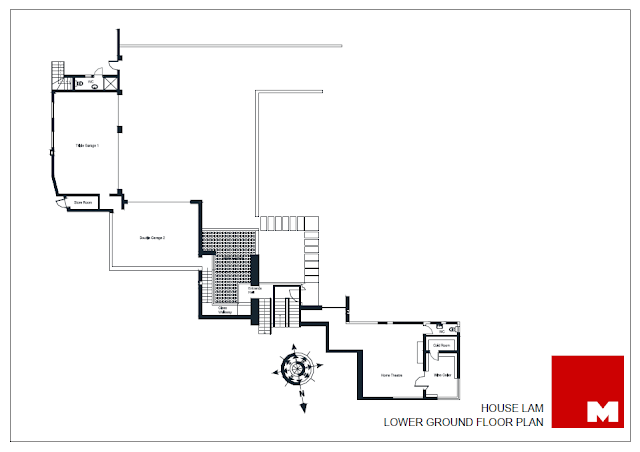 Lower ground floor plan of the Lam House