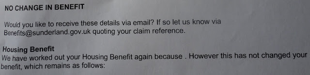 letter fail from sunderland council housing benefit office