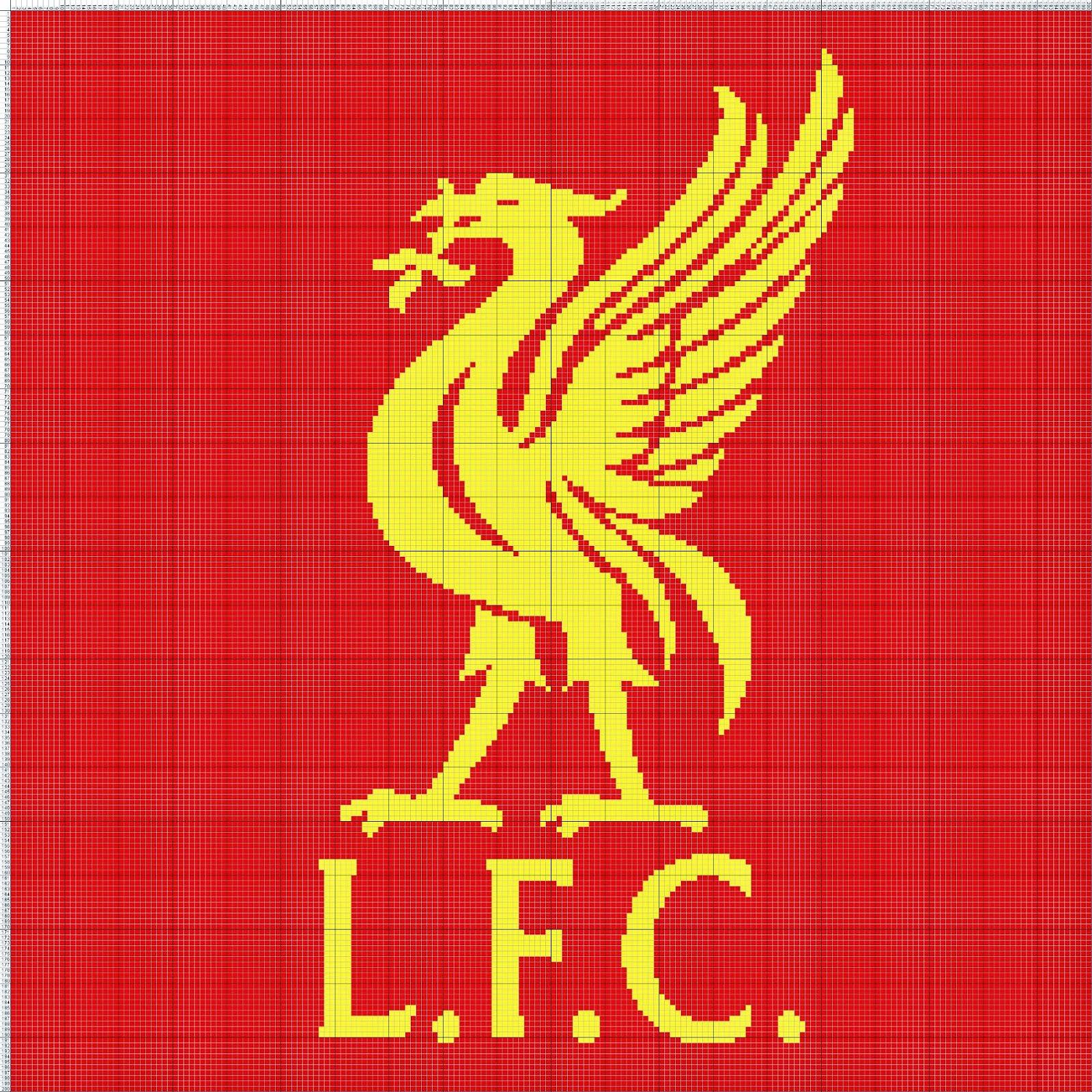 Gambar Pola Kristik Sederhana Logo Klub Sepakbola Liverpool FC - Inggris