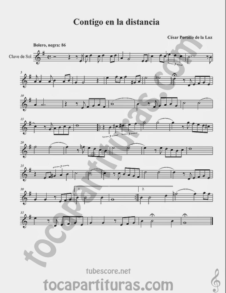 Contigo a la Distancia Partituras en Clave de Sol de Flauta, Violín, Saxo Alto, Oboe, Trompeta, Saxofón Tenor, Soprano Sax, Clarinete, Trompeta, Cornos, Trompa, Barítono, Voz... Sheet Music in treble clef for violin, flute, alto saxophone, trumpet, clarinet, horn, flugelhorn, baritone, voice...
