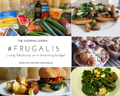 Mosaic of images showing a selection of groceries, three meals and berry muffins. The meals are spinach, mushrooms and feta on turkish toast, salmon burger on a sour dough roll with smashed potatoes and spinach, lentil and baked haloumi salad.