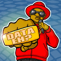 cartoon DJ with large ring saying DATA eh? on it