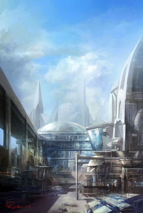 guicaimumu chinese artist illustrations fantasy card games Futuristic cities