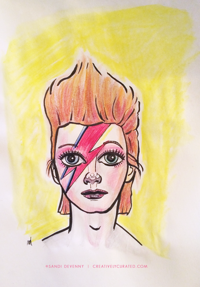 RIP David Bowie | Illustration by Sandi Devenny © 2016 | CreativelyCurated.com #davidbowie #bowie #ziggystardust #illustration