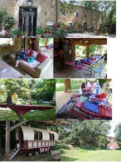 fotocollage van Can Portell, huis, tuin, gezellige tafel, etc