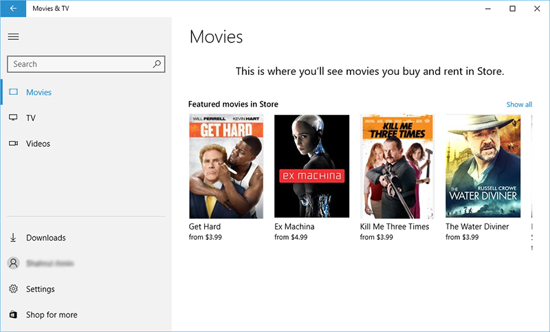 Movies & TV Windows 10