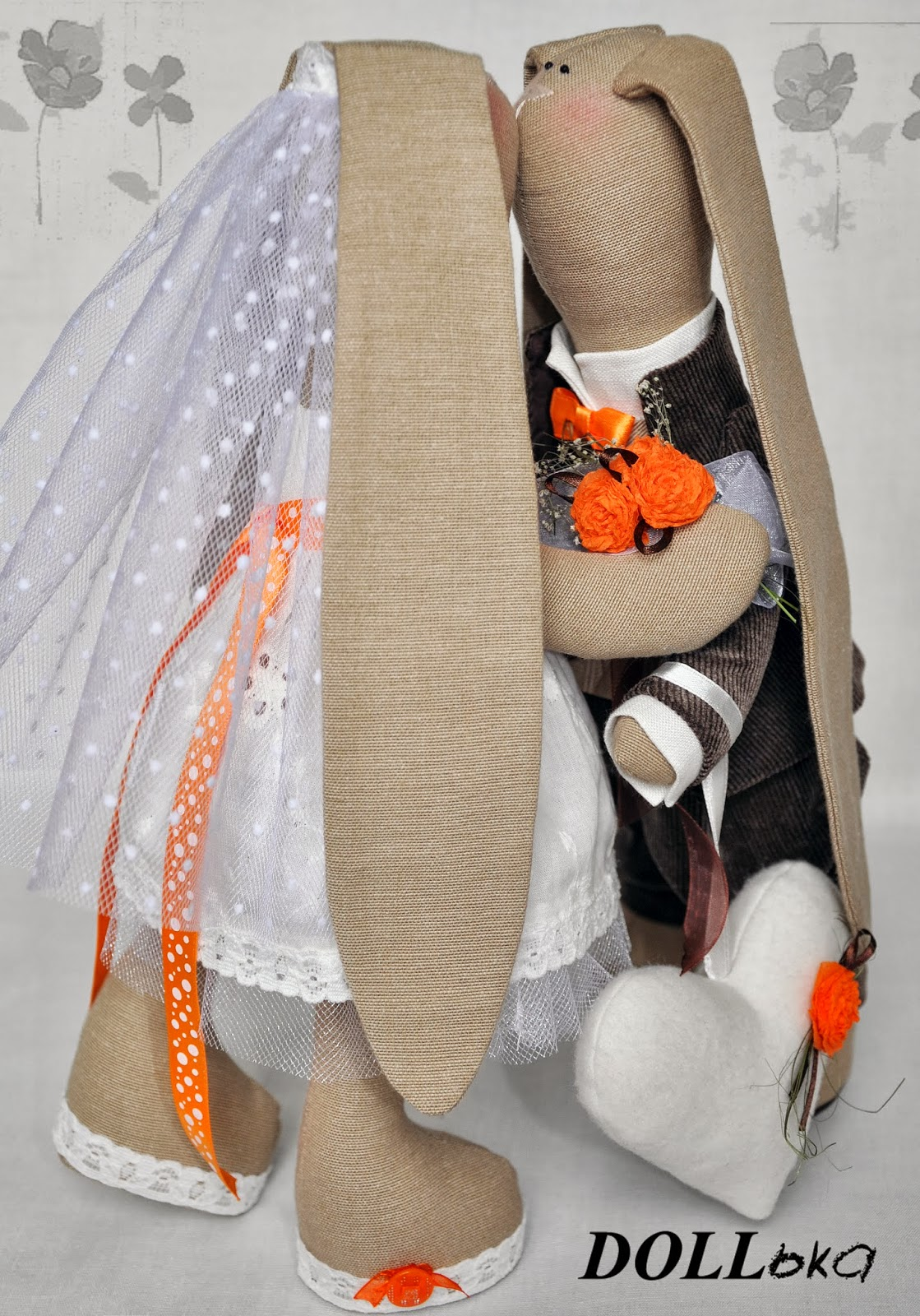 свадебные зайки текстильные игрушки ручной работы