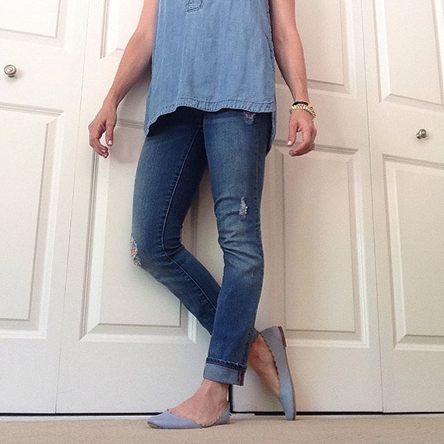 chambray and distressed denim