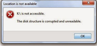 disk structure is corruped or inaccessible