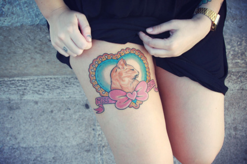 Cats Thigh Tattoos For Girls