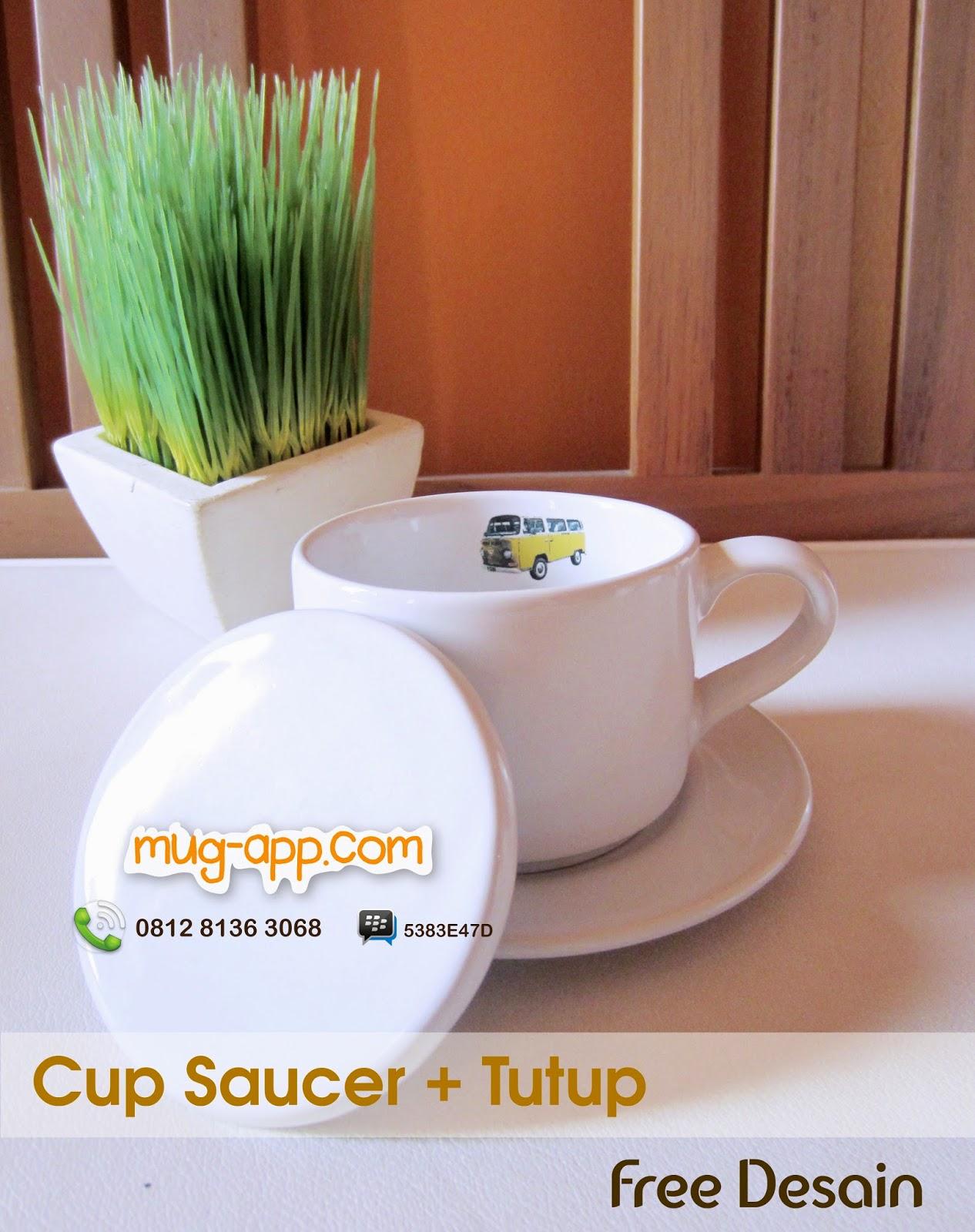 Cup Saucer dengan Tutup