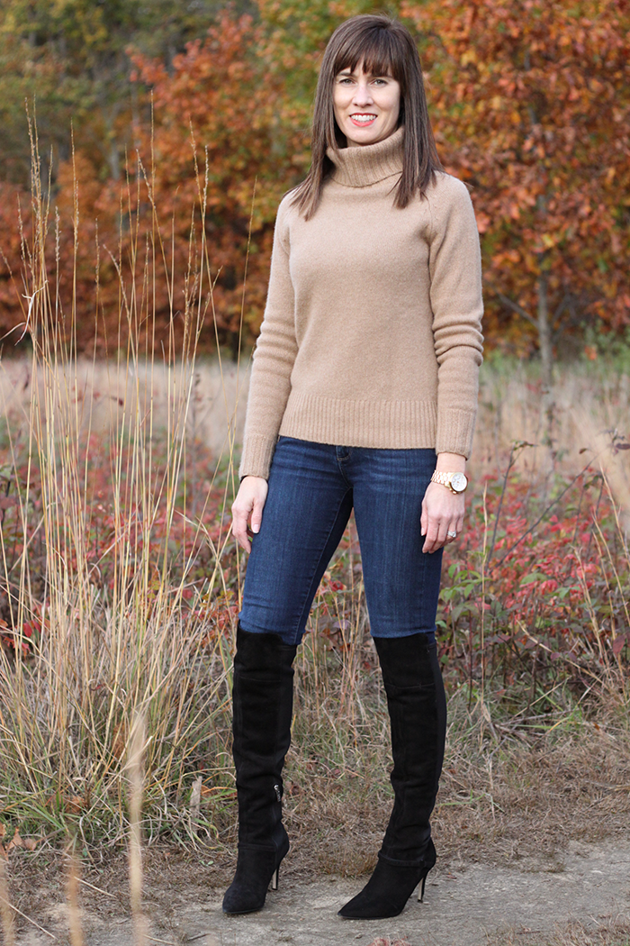 Over the knee boots, Jessica simpson, cashmere turtleneck sweater, what to wear fall