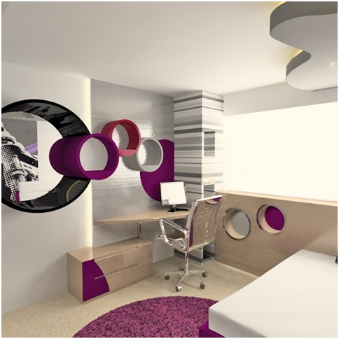 Bedroom for teenage girl who loves music. Dorm in fuchsia, white and black colors.