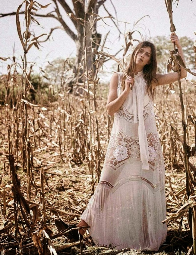 Roberto Cavalli Spring 2015 White Embroidered Silk-Georgette Maxi Dress Editorials
