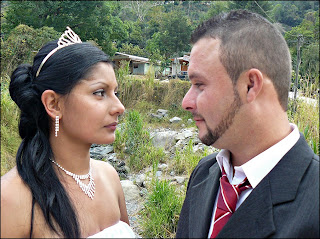 Groom and Bride gazing at one another