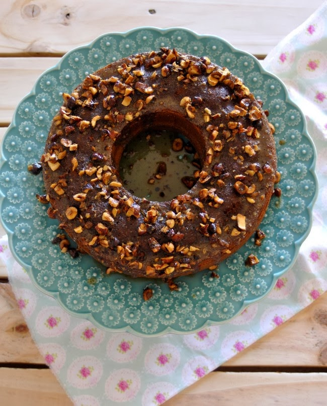 Pumpkin cake topped with nuts