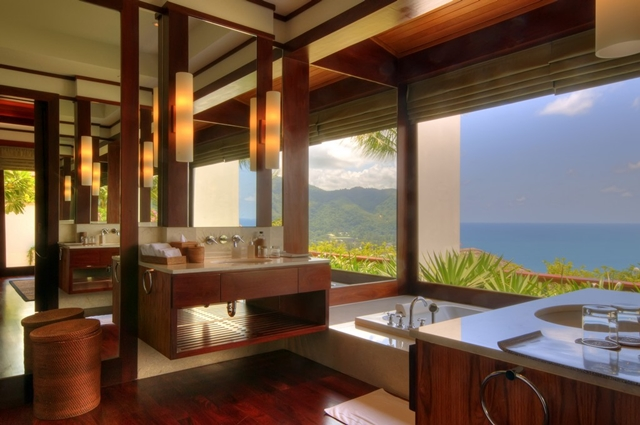 Thai designed bathroom with the view