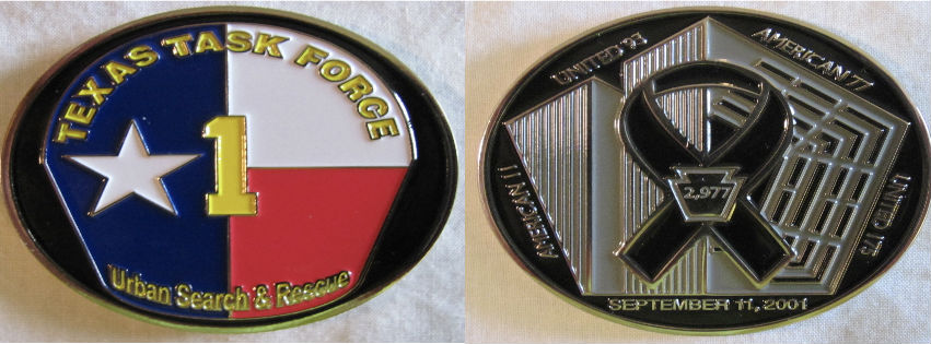 Texas Task Force 1 (TX-TF1) 9/11 memorial challenge coin