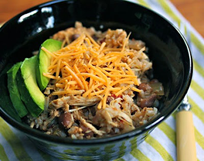 Slow Cooker Chicken and Pinto Bean Burrito Bowl Recipe