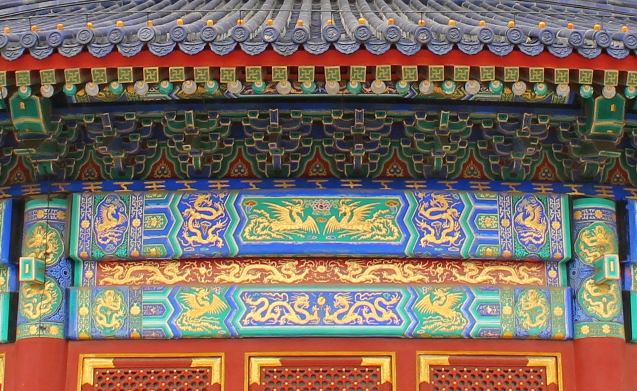 details of golden dragons on the Hall of Prayer for Good Harvests at the Temple of Heaven complex in Beijing