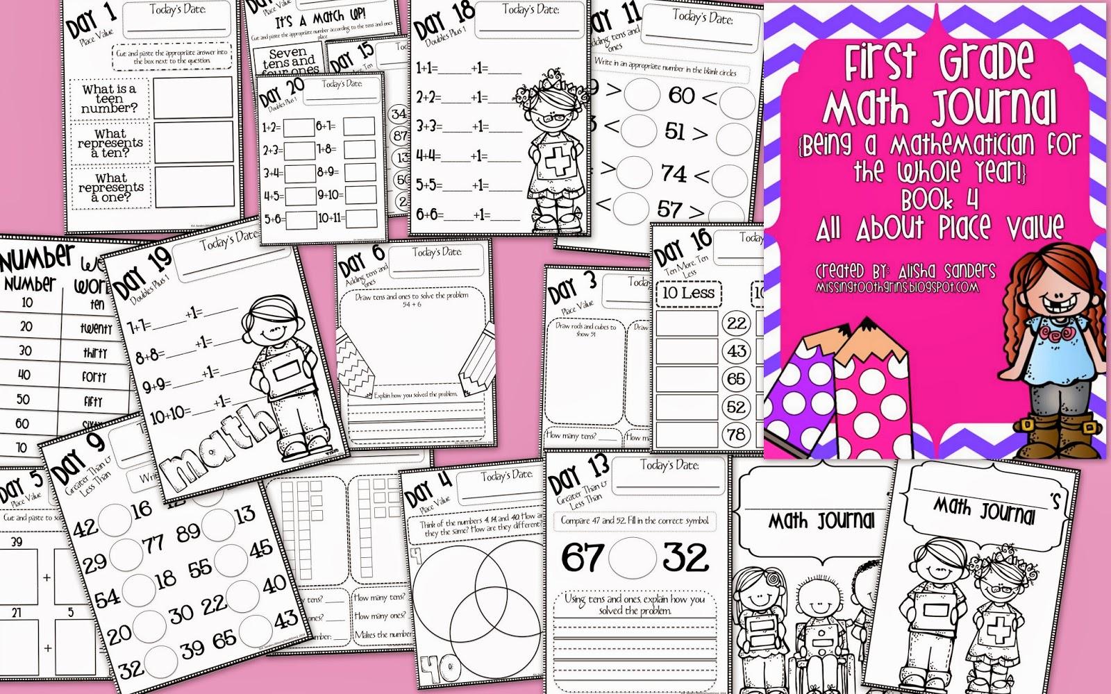 http://www.teacherspayteachers.com/Product/First-Grade-Math-Journal-All-About-Place-Value-1069576