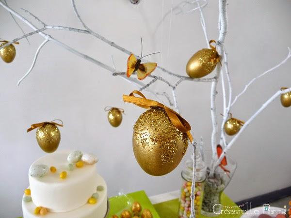 arbre à oeufs décorés pour la Sweet table lapin de Pâques