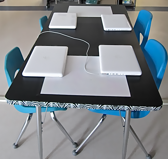 built in whiteboard tables with dry erase paper