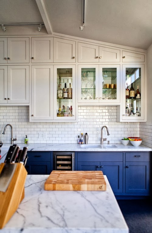 the green bungalow white kitchens subway tile two toned