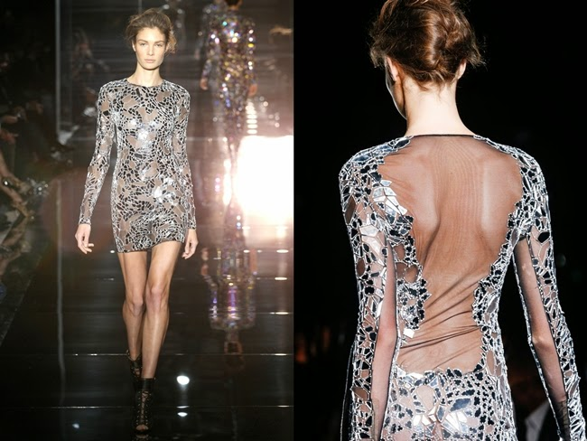 Tom Ford 2014 SS Silver Mirror Mesh Dress