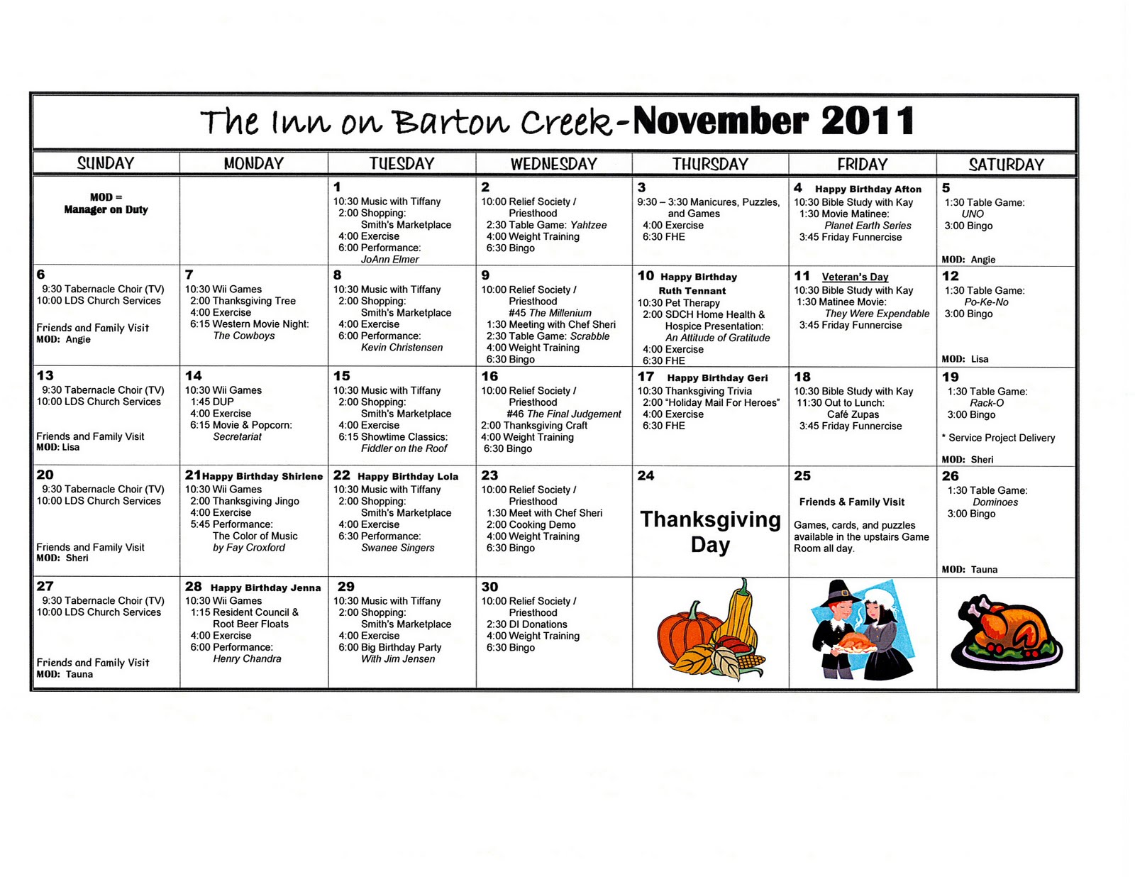 Calendar Ideas For November : Barton creek assisted living november activities calendar
