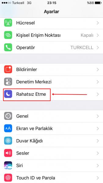 iphone1 rahatsiz etme modu