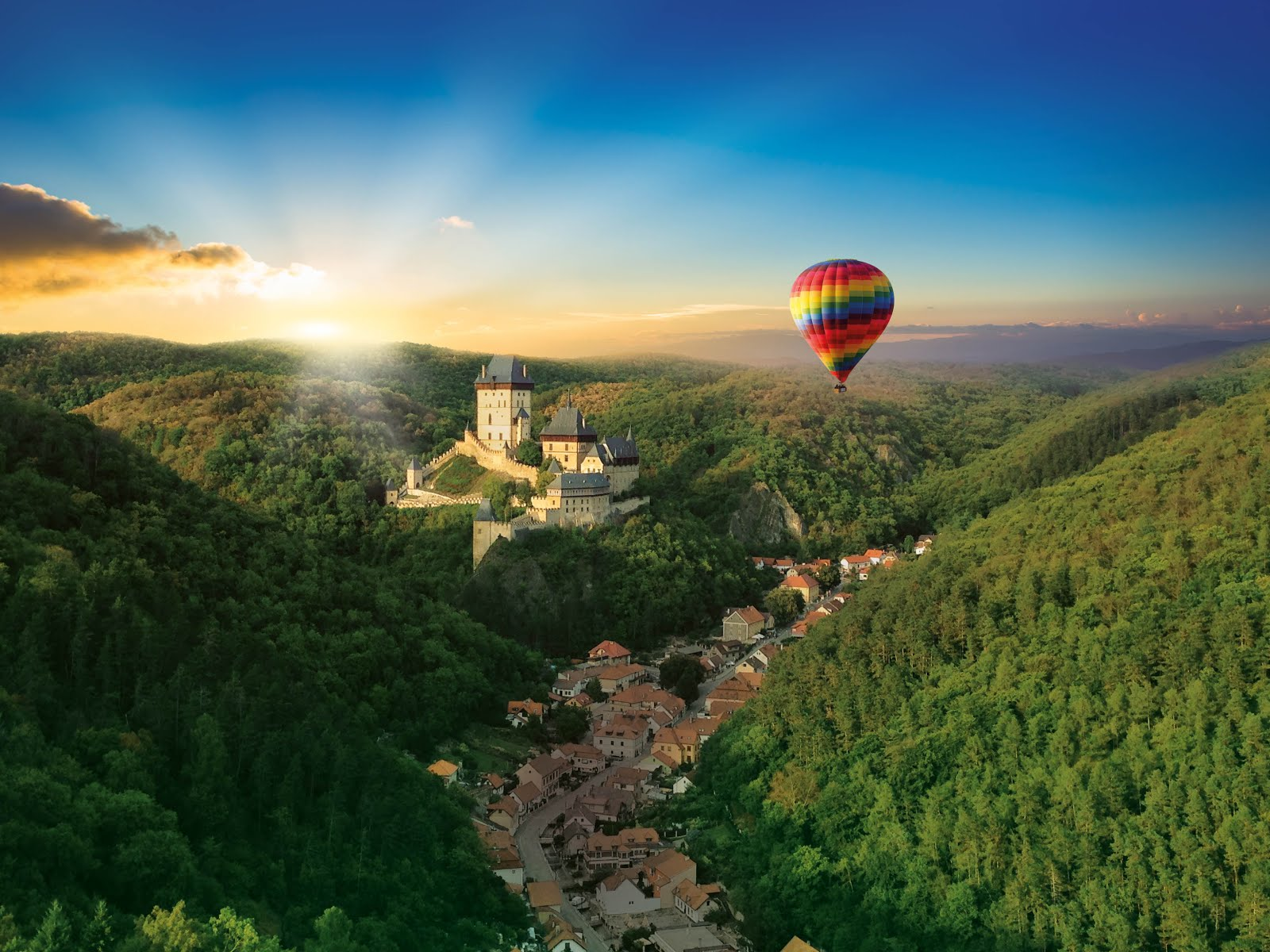 September: Hot Air Ballooning over Prague in Czechia