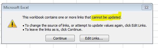 excel 2013 update links error